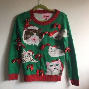 Ugly Christmas Sweater with Cats bows and Bells